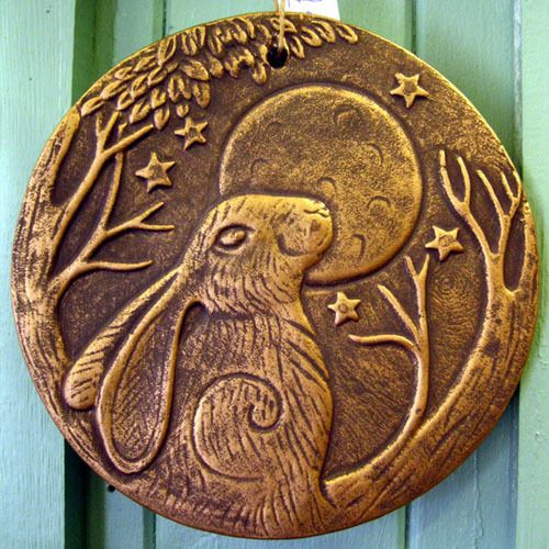Hare Moon Gazing Plaque Sign Wall Hanging Pagan Celtic Green Man Wiccan 20cm In Home