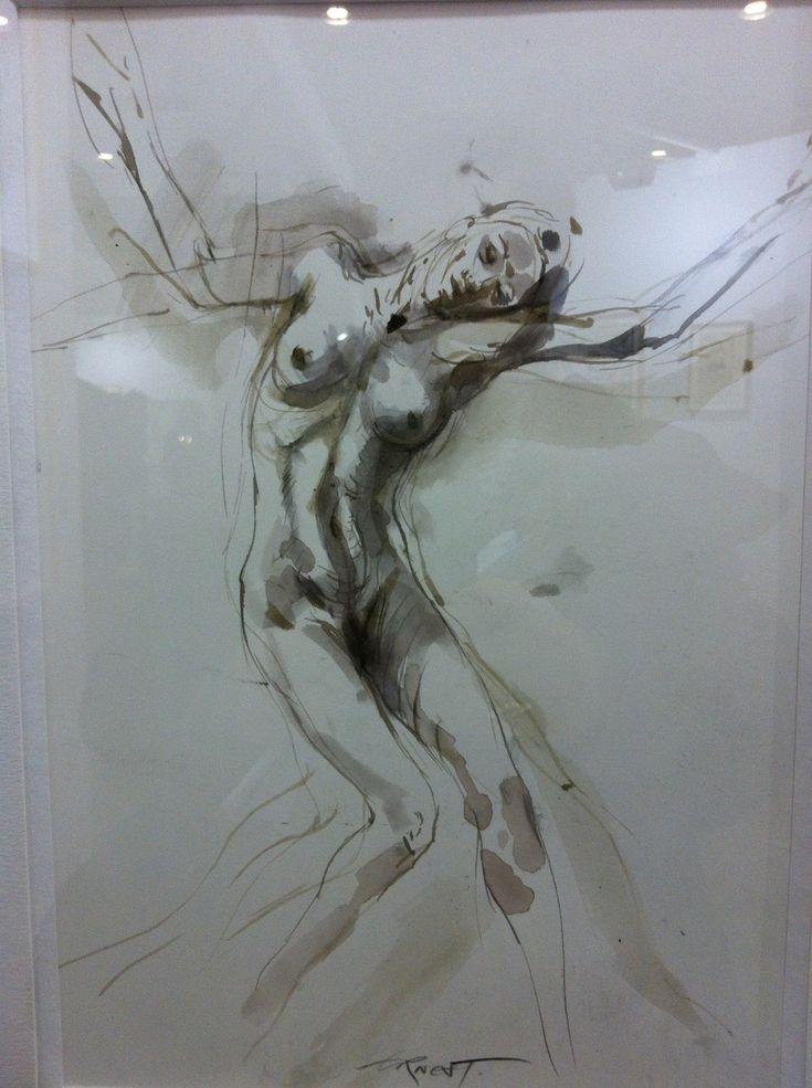 """Ernest Pignon Ernest - parcours Desnos """"Louis Lame"""" Etude 1, 2011 - pierre noire sur papier Galerie Lelong"""