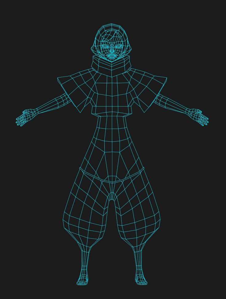 Low poly girl, wire frame