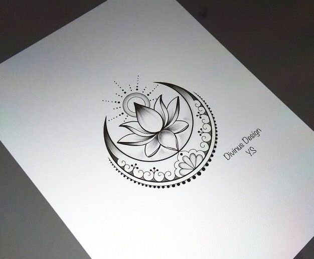 Lotus with Sun and Moon tattoo and Stencil - Instant Digital