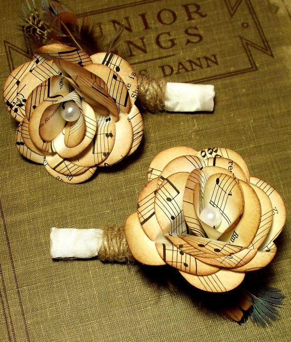Música Vintage papel flor en el ojal con hilo y por PaperDustStudio