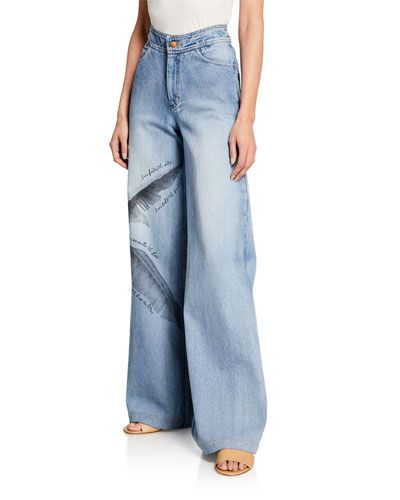 fc01107700 Johanna Ortiz Pale Blue Spirit High-Rise Wide Leg Feather Print Jeans