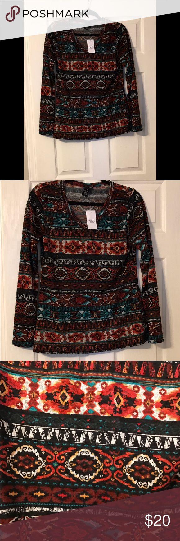 Final price!! NWT Rue 21 tribal print sweater- XL NWT Rue 21 tribal print multi- color V neck sweater- XL Rue 21 Sweaters V-Necks