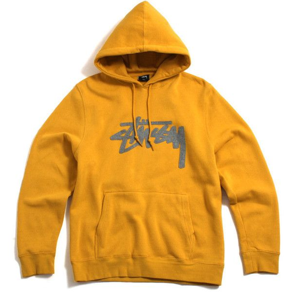Stussy Wool Stock Applique Pullover Hoody Mustard (£60) ❤ liked on Polyvore featuring tops, hoodies, orange hoodies, wool hooded sweatshirt, hoodies pullover, orange pullover hoodie and logo hoodies