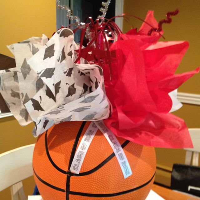 Cleaver way to use basketball for centerpiece for graduation party
