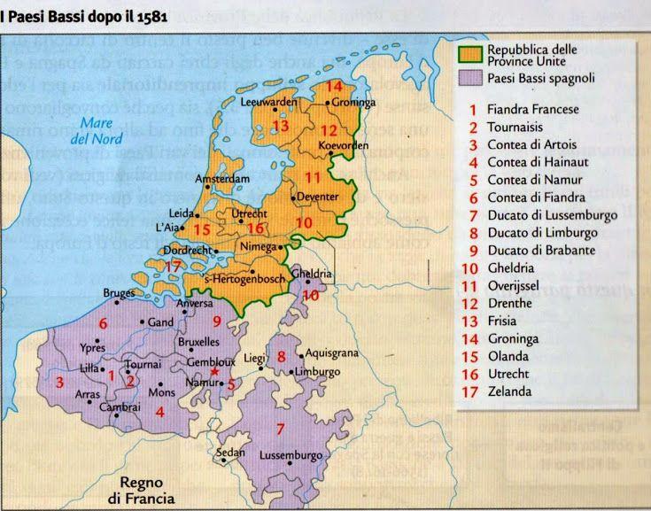 Cartina rappresentante la divisione dei Paesi Bassi in Paesi bassi spagnoli- a sud- e Repubblica delle Province unite- a nord.