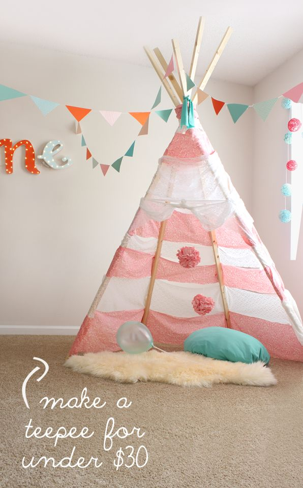 This is so adorable! I would have loved this growing up! Have to make for my kids! DIY No Sew Teepee for under $30