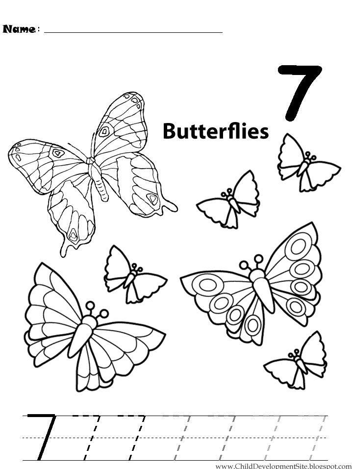 number 7 coloring pages for preschool | 74 best pk worksheets images on Pinterest | Math ...