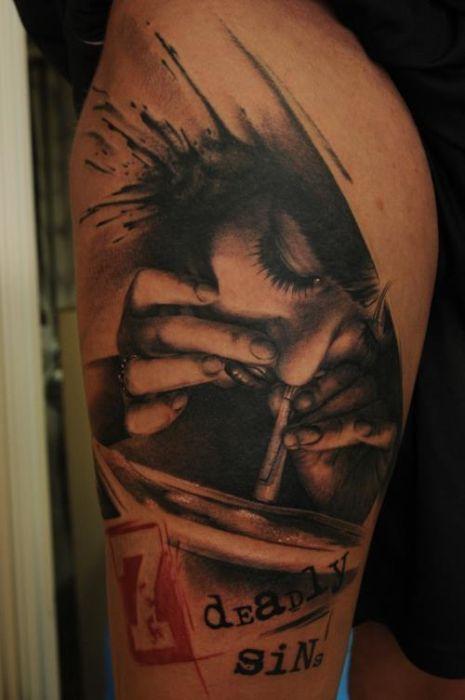 Drugs Tattoo / Cocaine Tattoo by Florian Karg #trashpolka #style #tattoo