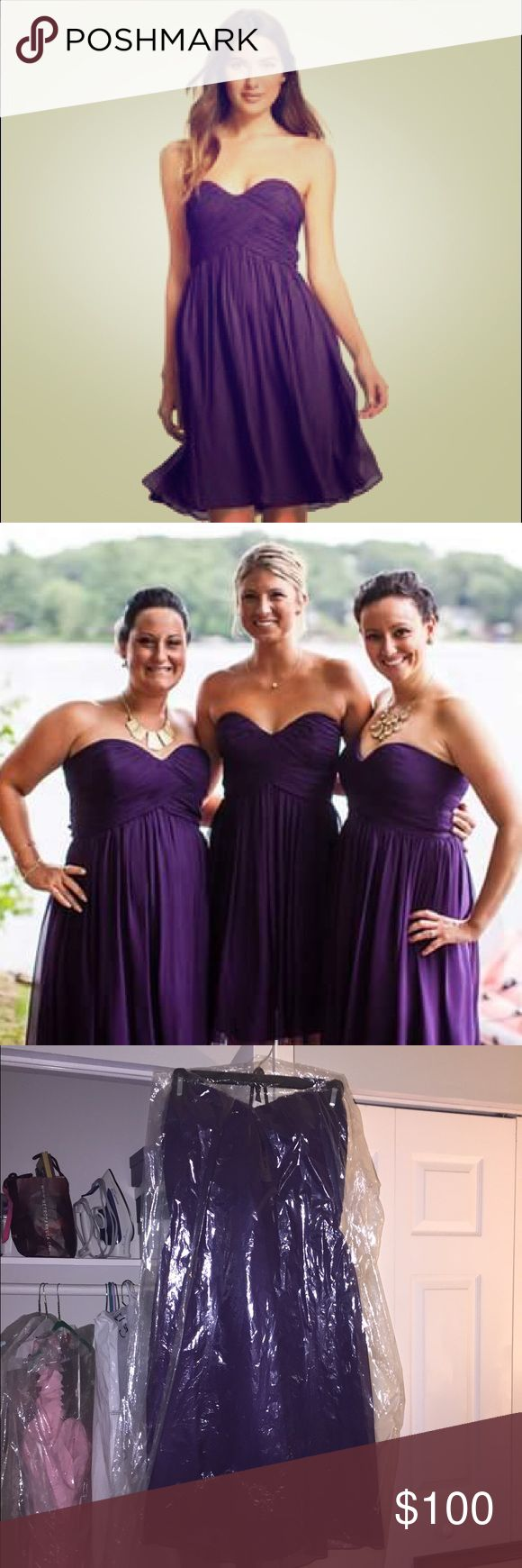 DONNA MORGAN STRAPLESS CHIFFON BRIDESMAID GOWN Worn once! Great condition. So cute. Awesome color. Donna Morgan Dresses Strapless