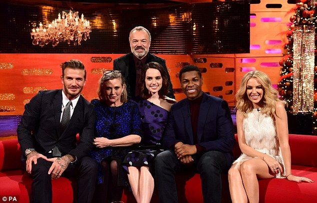 Star-studded: David Beckham and Kylie Minogue joined Carrie Fisher, Daisy Ridley and John ...