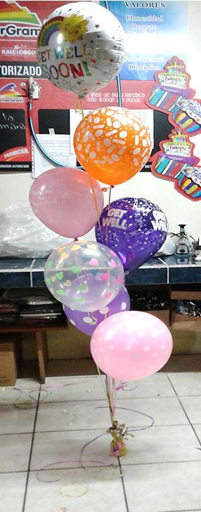 Hermosa combinación de Bunch de #Globos #Metálicos y de #Látex, inflados con helio para #Recuperación!!