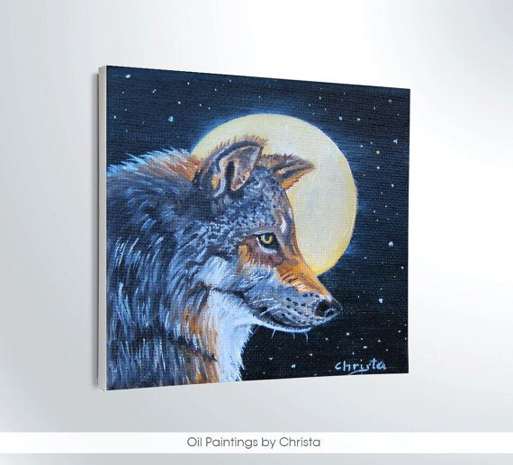 Wolf painting miniature 4x4i oil painting by OilpaintingsChrista