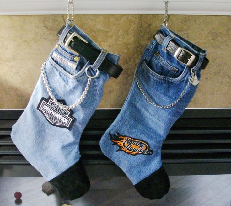Hats off to the creative biker behind these! Even if it's too cold to ride, keep the biker spirit in the house by making these Christmas stockings.