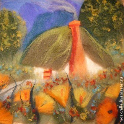"""""""Дом Гнома"""" 3-D из шерсти - картина,детская,шерсть,пейзаж,сказка,гном"""