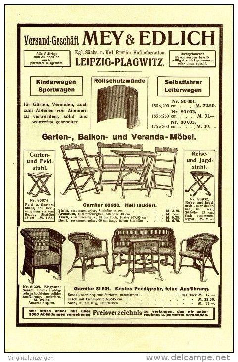 Original-Werbung/Inserat/ Anzeige 1914 - 1/1 SEITE - GARTEN-/KORBMÖBEL: MEY & EDLICH / LEIPZIG-PLAGWITZ ca. 160 x 240 mm