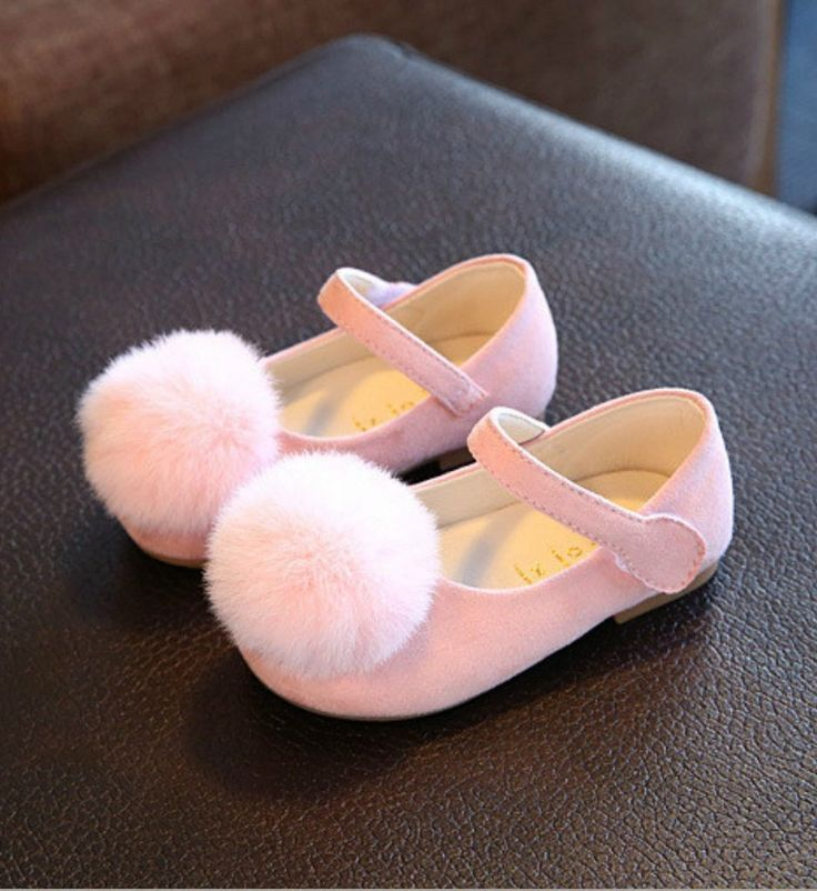 Toddler Shoes-Super Soft & Comfortable Flat Shoes! Pink Feather Pom Pom Litte Girl Shoes Material: Suede, feather & rubber Perfect for weddings, birthday, communion, baptism, christmas or baby shower gift