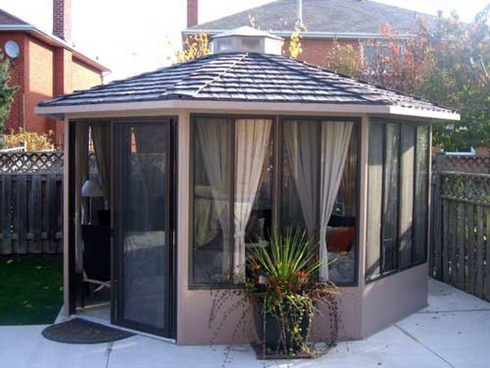 Modern Gazebo Design With Aluminium Material And Glass For The Windows Home Interior Decorating Ideas 10721 In 2020 Modern Gazebo Gazebo Screened Gazebo