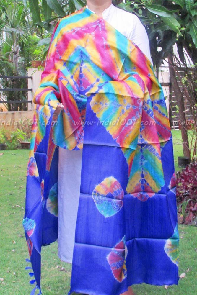 Designer Tussar Silk Dupatta with Tie & Dye Patterns | India1001.com