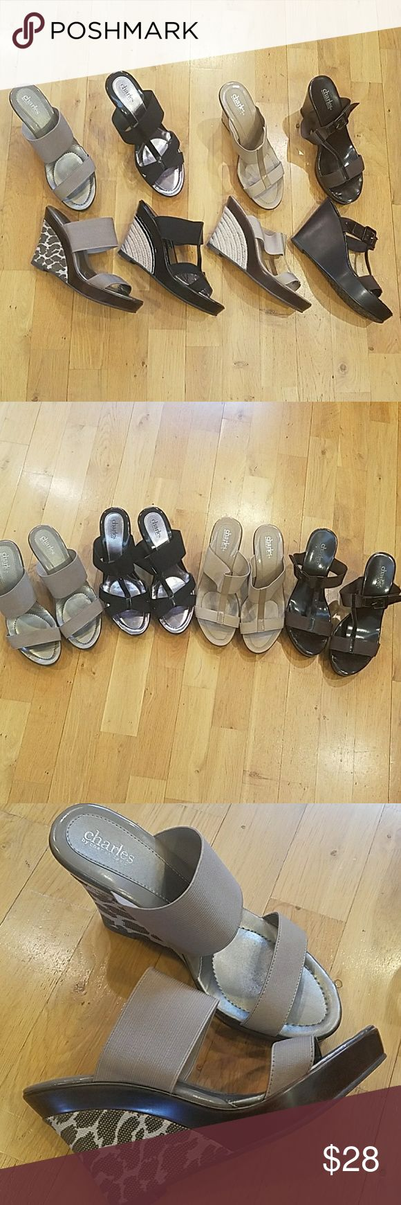 Charles David Shoe Lot (4 pair) Size 8 Charles David Shoe Lot (4 pair) Size 8 Comfortable shoes that go with everything.  All have been used. Still lots of life left. Charles David Shoes Wedges