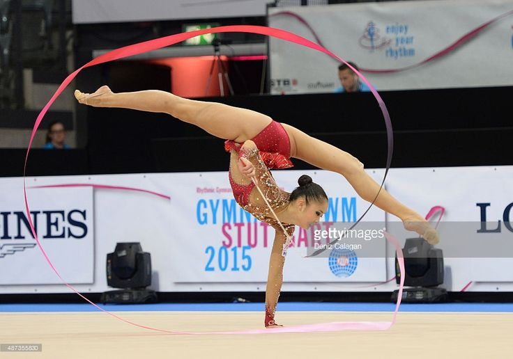 Kaho Minagawa of Japan competes during the 34th Rhythmic Gymnastics World Championships on September 9, 2015 in Stuttgart, Germany.