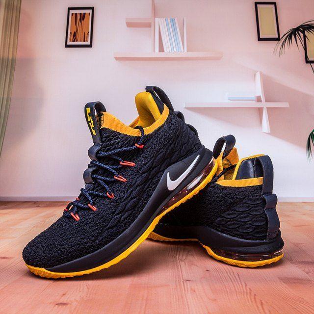 Nike Lebron James 15 XV Niedrig Marineblau Gelb Weiß Herren