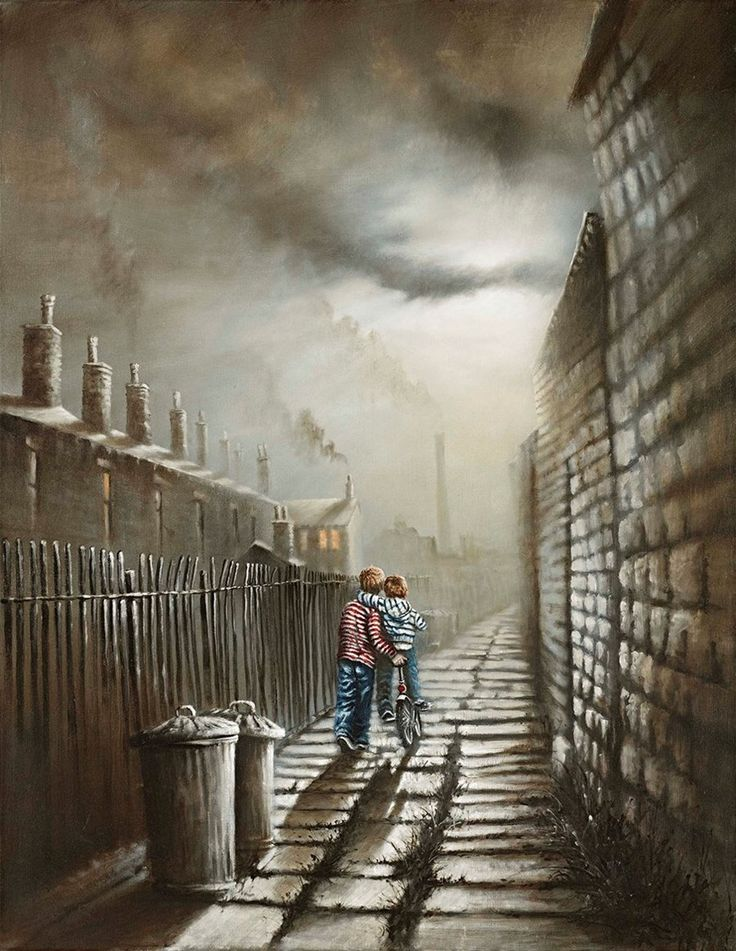 Gonna Be a Bumpy Ride by Bob Barker. It's a perfect piece of Bob Barker nostalgia – a young boy lovingly teaching his little brother how to ride a bike in the back alley of a terrace of cosily-lit houses. Perhaps they're heading for home and tea in the one that's furthest away, with its glowing orange windows and smoking chimney…