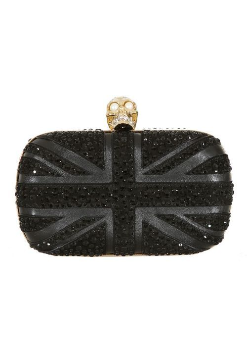 Alexander McQueen black leather clutch