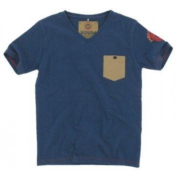 Hound - T-shirt V-hals met steekzakje blauw