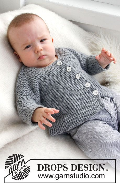 Grey Gosling / DROPS Baby 21-39 - Knitted DROPS jacket worked sideways in 2 threads Alpaca.