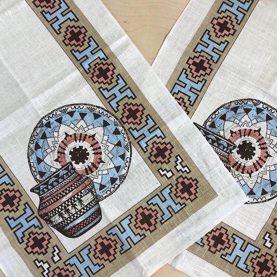 Vintage Southwestern Tea Towels Set of Two Never Used Vintage