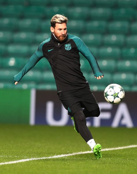 Lionel Messi of Barcelona is seen during a training session prior to the UEFA Champions League match between Celtic FC and FC Barcelona at Celtic Park Stadium on November 22, 2016 in Glasgow, Scotland.