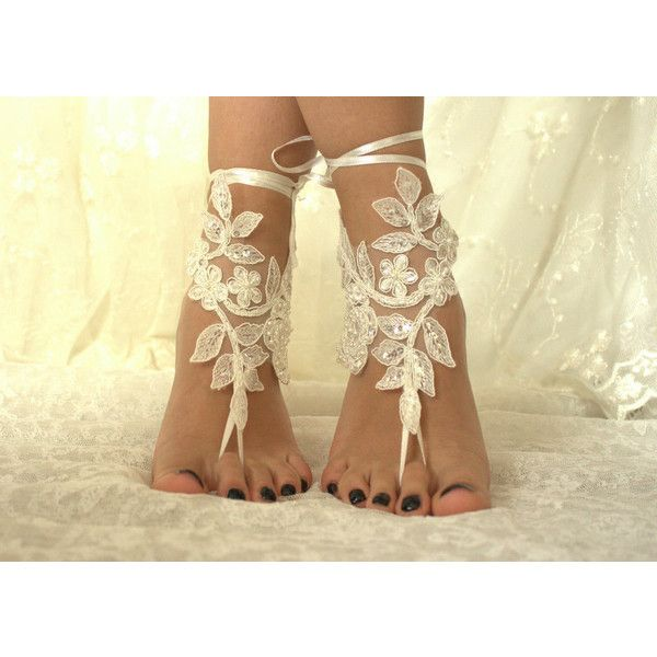 5 pairs bridesmaid gift Ivory or ivory lace wedding barefoot sandals... ($100) ❤ liked on Polyvore featuring shoes, sandals, lace shoes, ivory sandals, lacy shoes, beach shoes and beach anklet