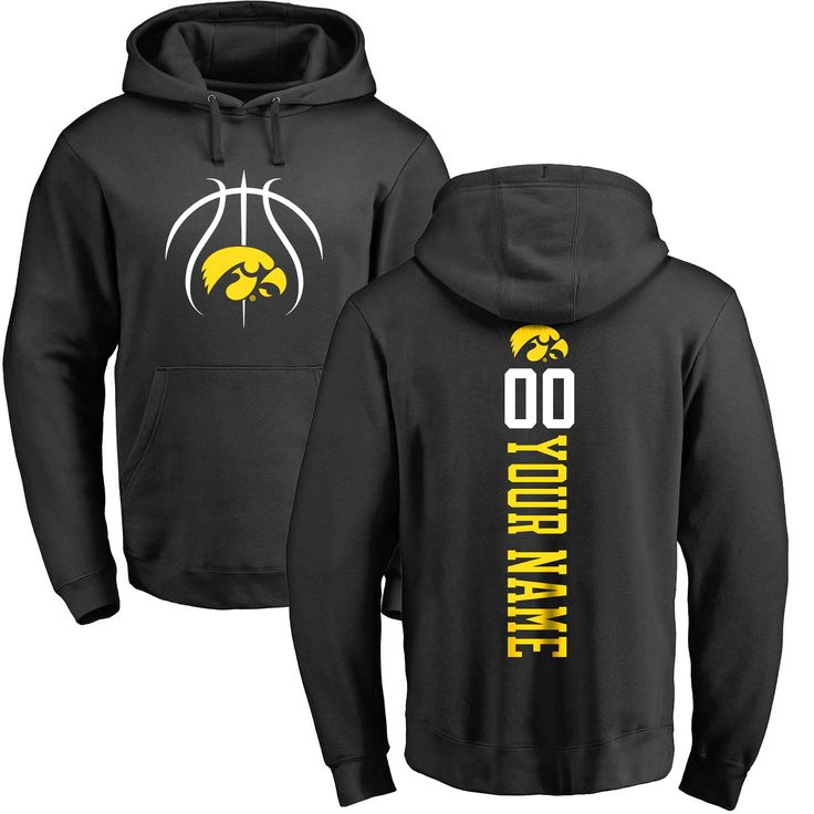 Iowa Hawkeyes Basketball Personalized Backer Pullover Hoodie - Black - $69.99