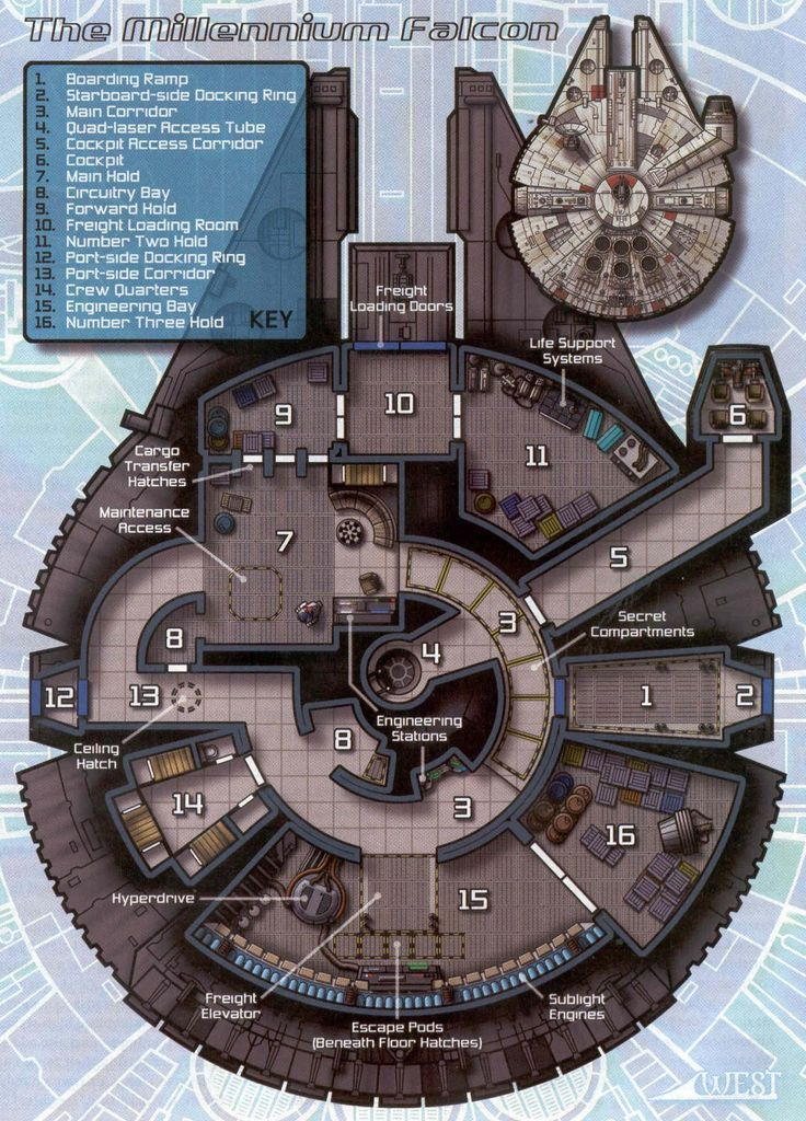 A view inside (blueprint) of the Millenium Falcon