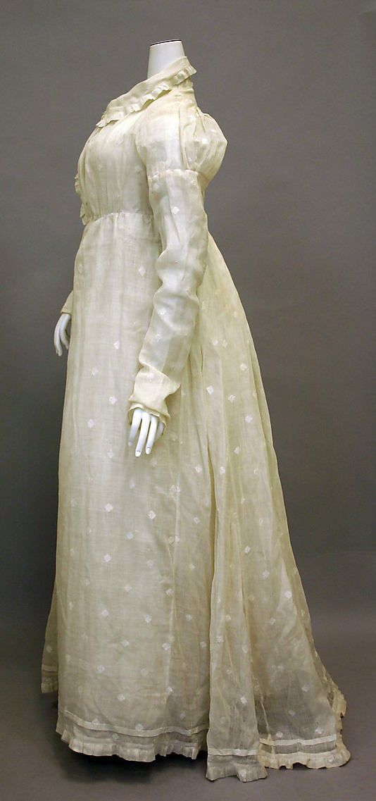 Sprigged muslin. Morning dress Date: 1810–20 Culture: American Medium: cotton Dimensions: Length: 54 1/2 in. (138.4 cm) Credit Line: Purchase, Friends of The Costume Institute Gifts, 1978 Accession Number: 1978.88.1