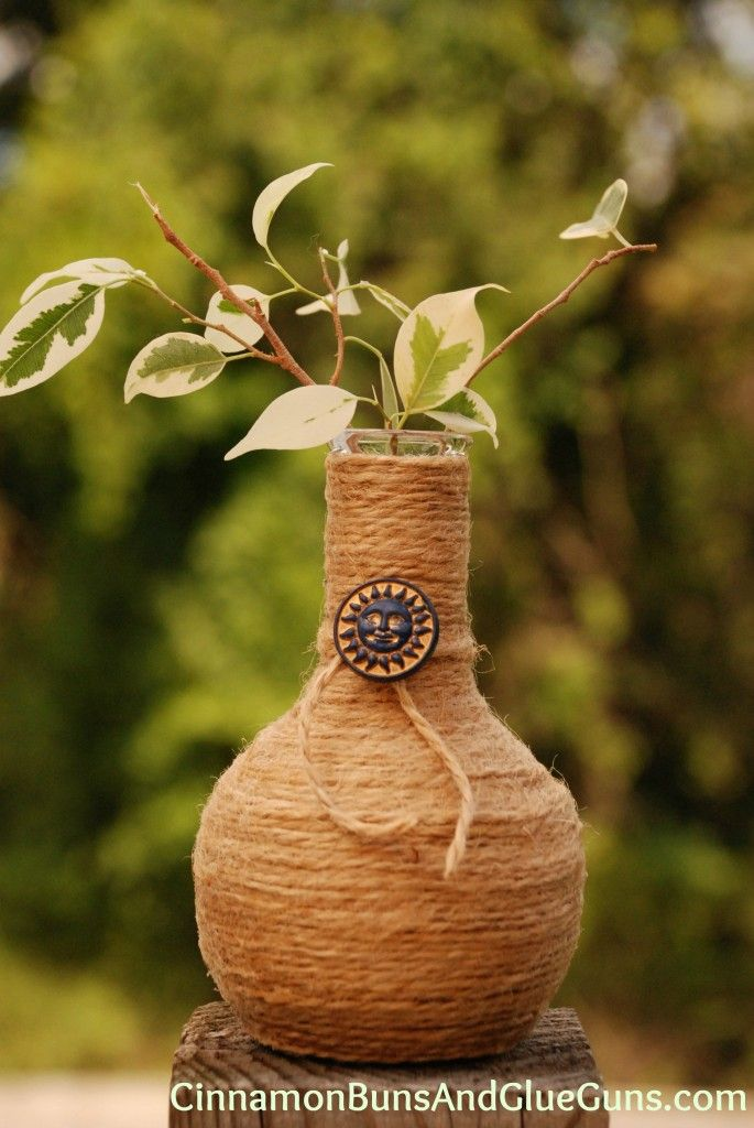 Embellish a twine-wrapped bottle with a large button