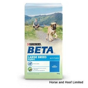 Beta Large Breed Puppy with Turkey 14kg Beta Large Breed Puppy with Turkey has been developed to support natural growth the healthy building of joints, muscles & other structures that lay the foundations for adult life.