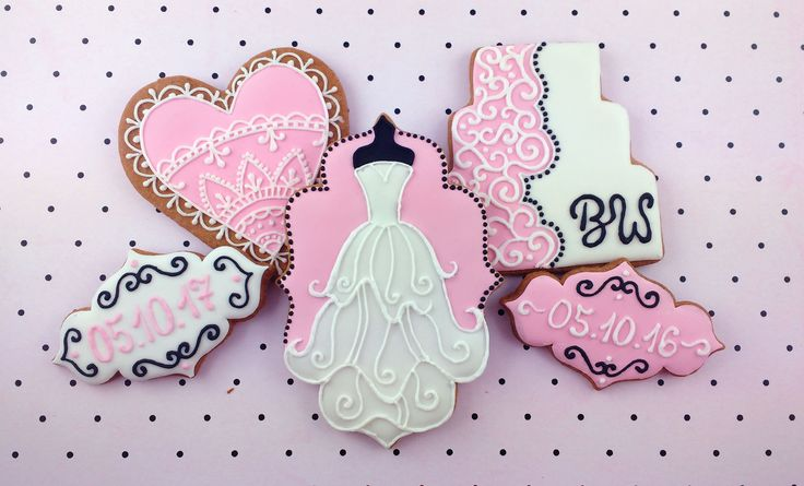 Wedding cookies - pink, white and black: wedding dress, labels with wedding date, cake with initials and decorated heart
