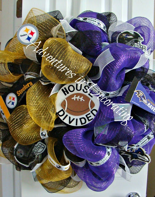 Cute House divided Football Mesh Wreath - Adventures in Decorating