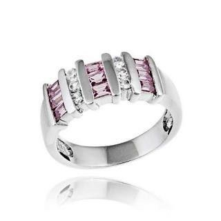 Pink & Clear Zirconia Striped Ring