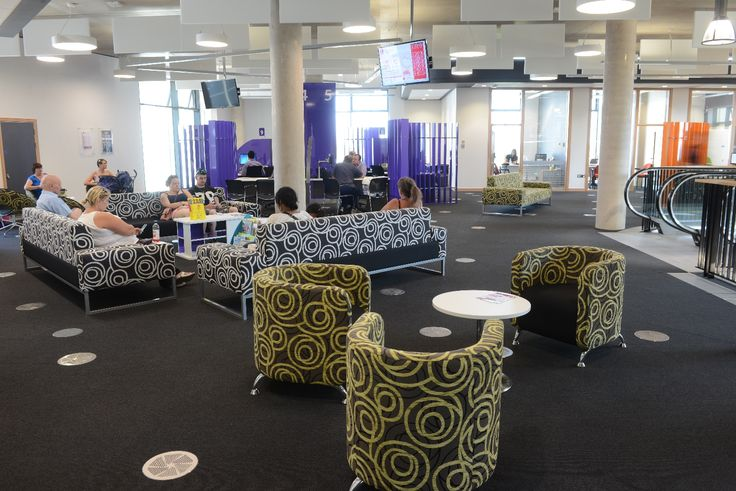 Stylish seating in customer services waiting area