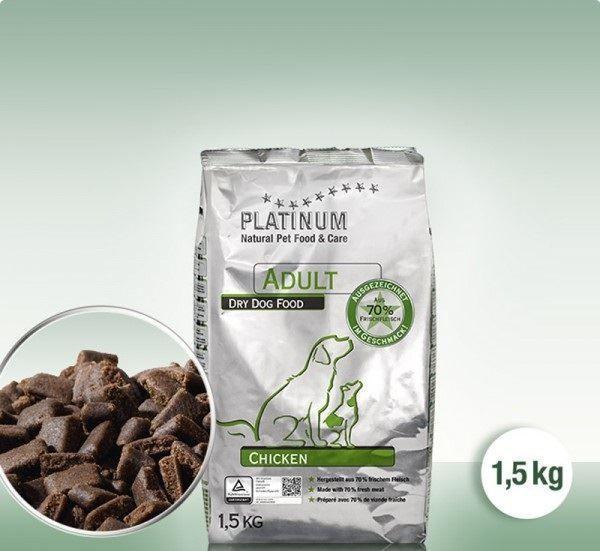 PLATINUM ADULT KYLLING er et komplet tørret hundefoder lavet af 70% fersk kyllingkød,