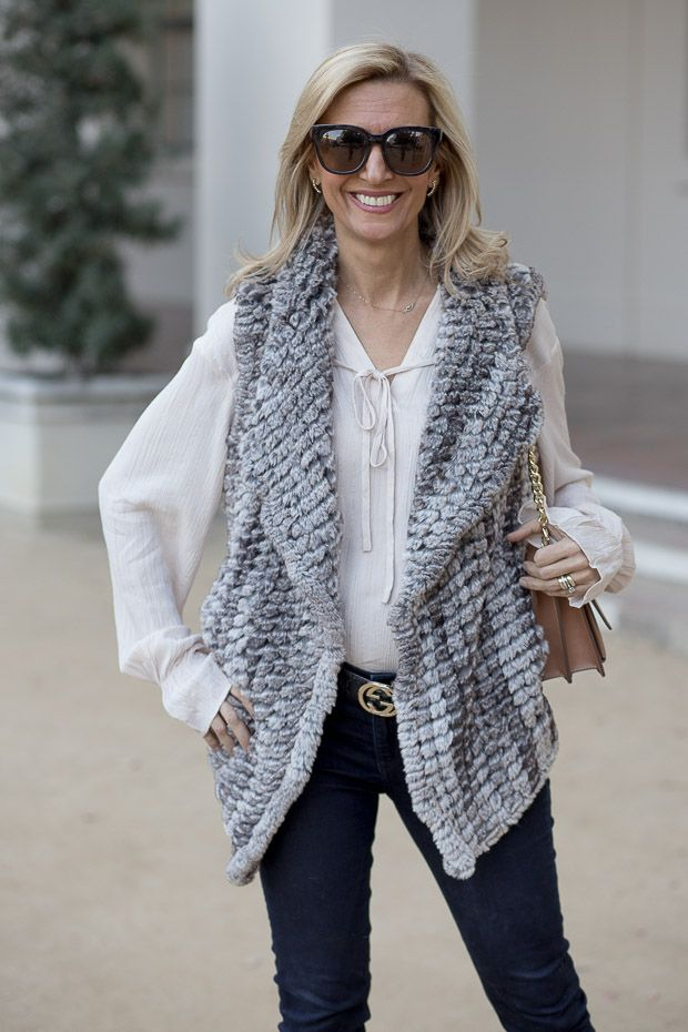 On my blog our Taupe Faux Fur vest and Metallic stripe nude blouse both available in our shop www.jacketsociety.com