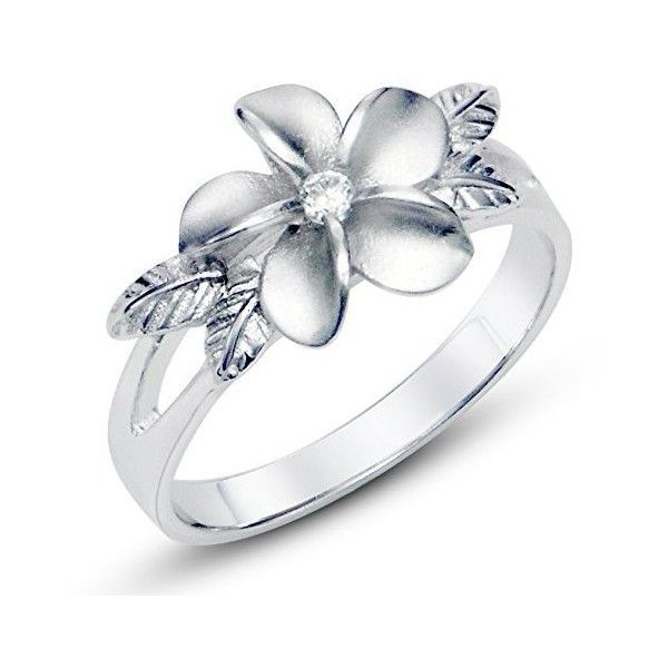 925 Sterting Silver Plumeria Cubic Zirconia CZ w/ Maile Leaf Hawaiian... (11 CAD) ❤ liked on Polyvore featuring jewelry, rings, silver cz ring, cubic zirconia rings, flower ring, cubic zirconia jewelry and cz rings