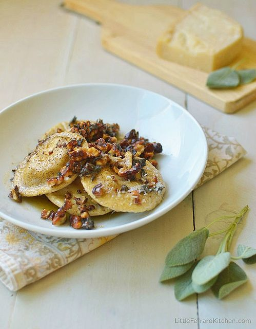 Homemade Pumpkin-Ricotta Ravioli with Brown Butter Walnut Sauce via LittleFerraroKitchen.com by FerraroKitchen1, via Flickr