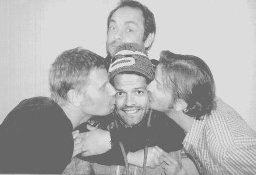 Sebastian Rochè {Lucifer}, Richard Speight Jr. {Gabriel}, Mark Shepherd {Crowley}, and Misha Collins {Castiel}.