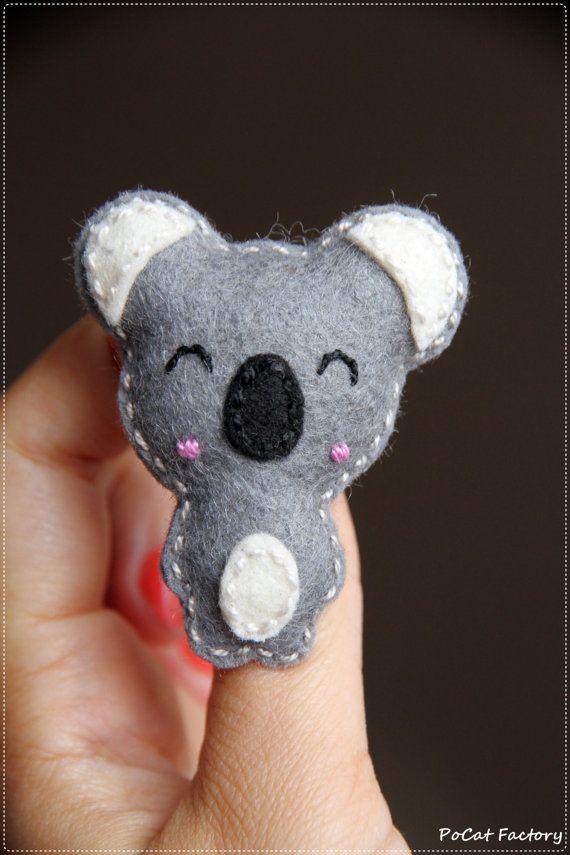 Cute happy felt koala brooch