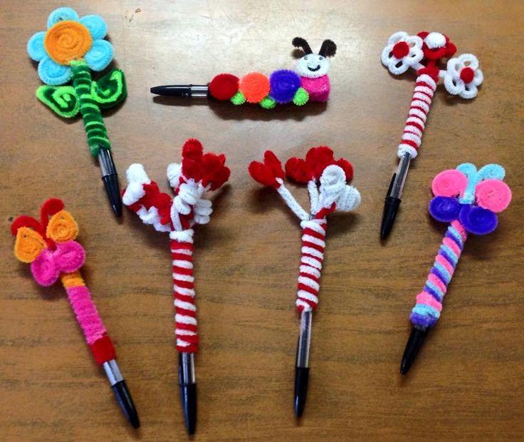 lapiceros decorados con limpiapipas flores gusano corazones mariposas