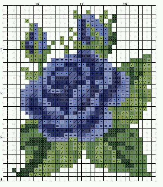 "rose 40x ca 40 blue [ ""Дыхание Бисера"